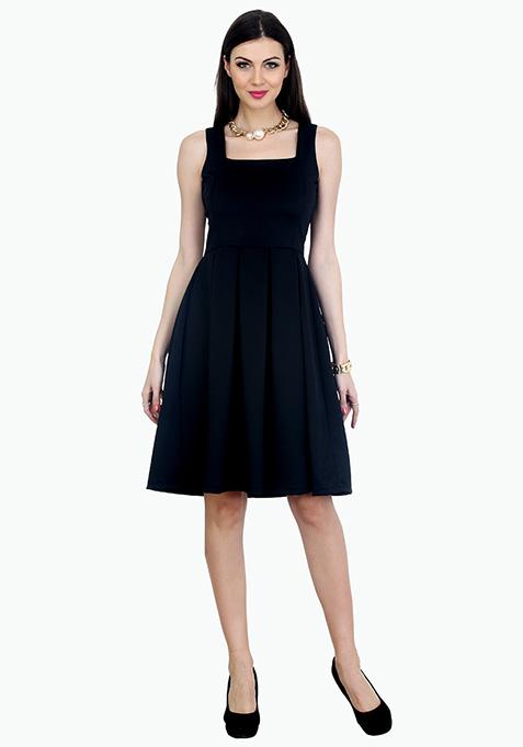 Black Midi Circle Dress