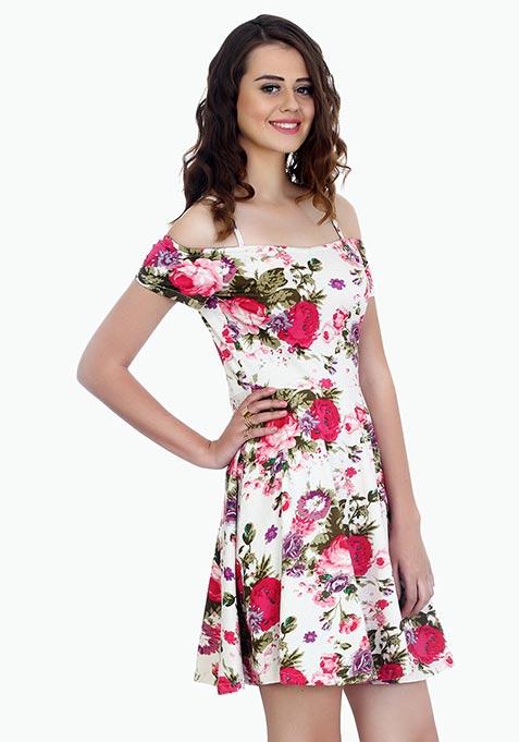 Strappy Shoulders Skater Dress - Floral