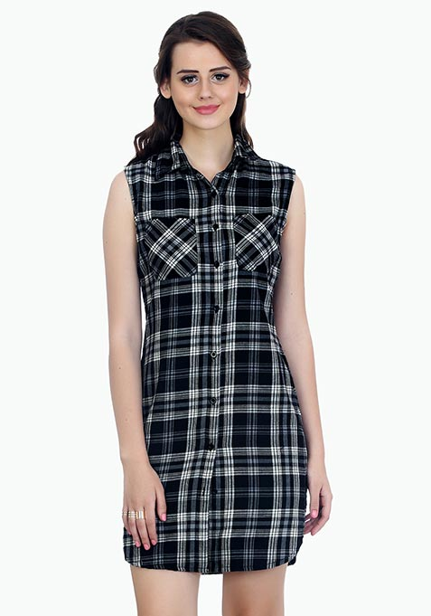 Tartan On Shirt Dress - Black