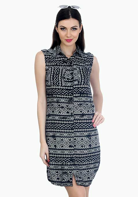 Aztec On Shirt Dress