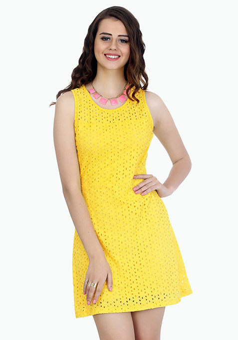 Summer Breeze Skater Dress - Yellow
