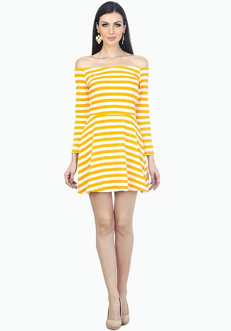 Bardot Skater Dress - Yellow