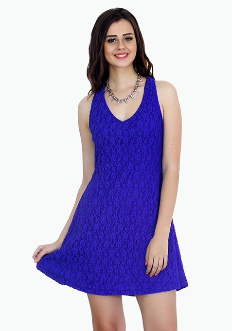 Sweet Lace Halter Dress - Blue