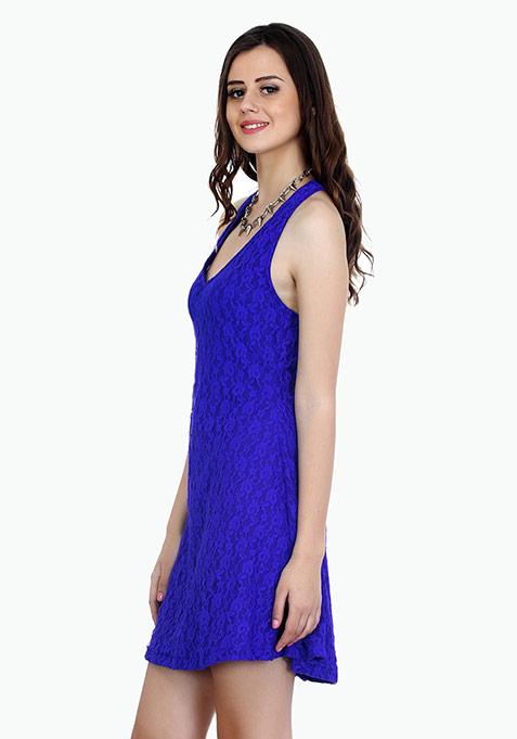 Sweet Lace Halter Dress - Blue