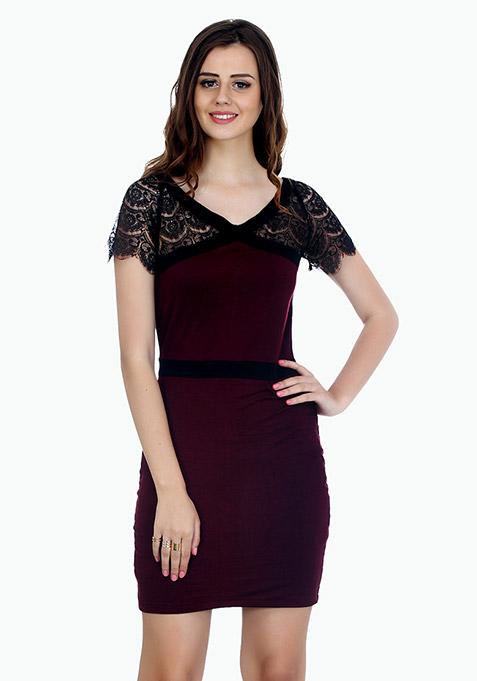 Lace Enshrouded Bodycon Dress - Marsala