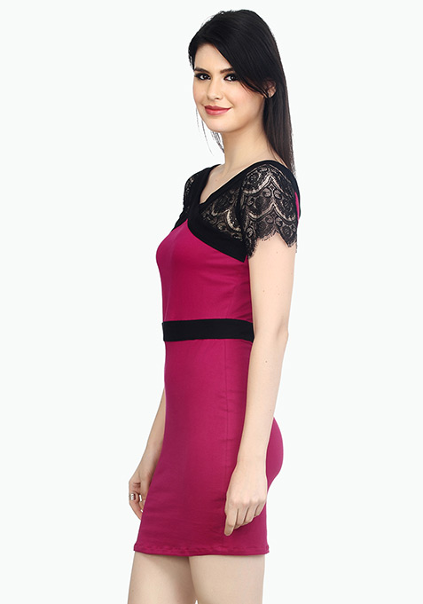 Lace Enshrouded Bodycon Dress - Pink