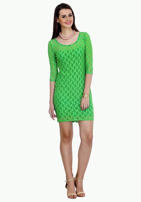Funky Town Bodycon Dress - Green