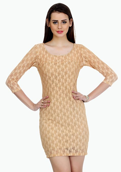 Funky Town Bodycon Dress - Nude