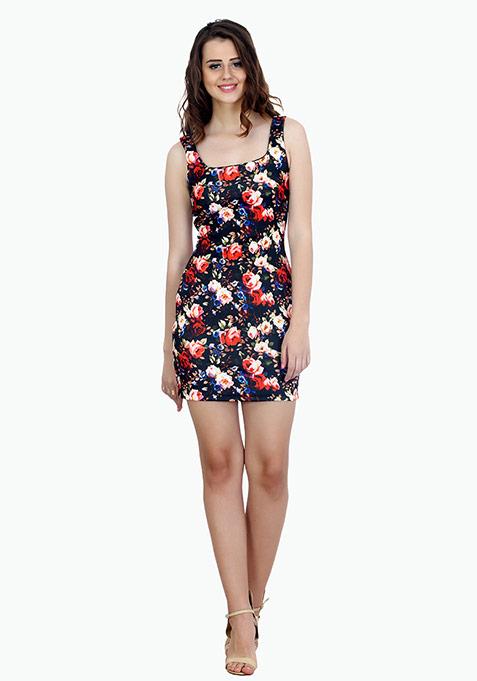 Night Floral Scuba Bodycon Dress