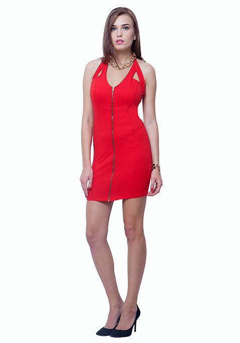Zipped Halter Bodycon Dress - Red