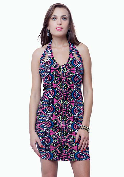 Zipped Halter Bodycon Dress - Aztec
