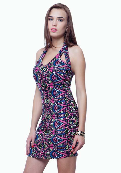Zipped Halter Bodycon Dress - Aztec