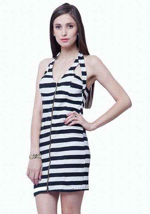 Zipped Halter Bodycon Dress - Stripes