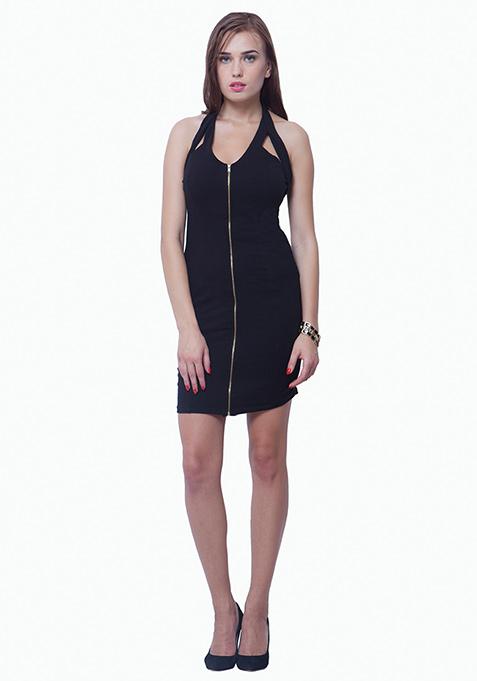 Zipped Halter Bodycon Dress - Black
