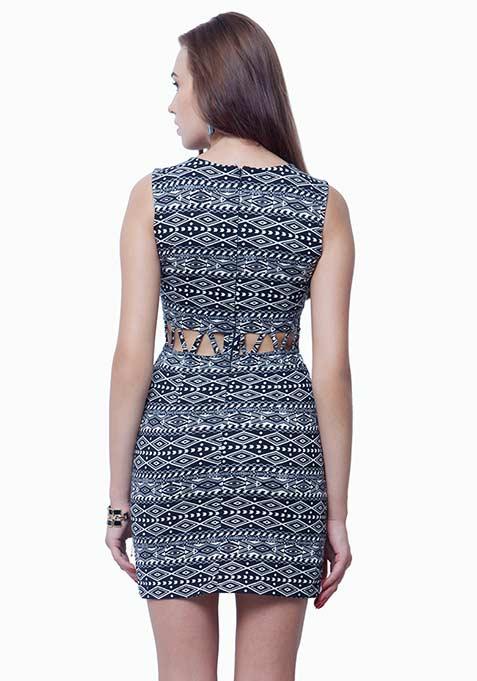 Slashed Waist A-Line Dress - Tribal