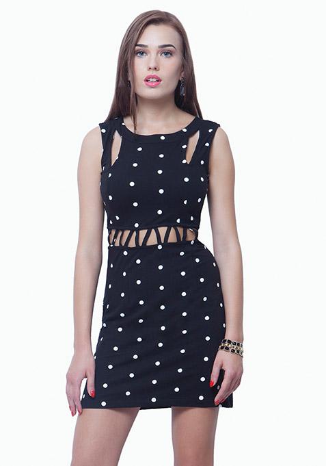 Slashed Waist A-Line Dress - Polka