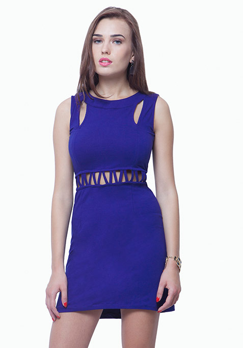Slashed Waist A-Line Dress - Blue