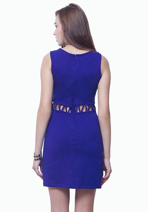 Slashed Waist A-Line Dress - Blue