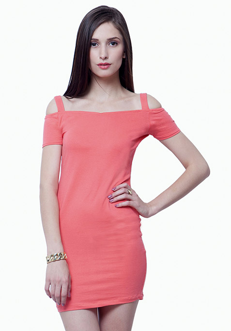 Off Shoulder Bodycon Dress - Coral