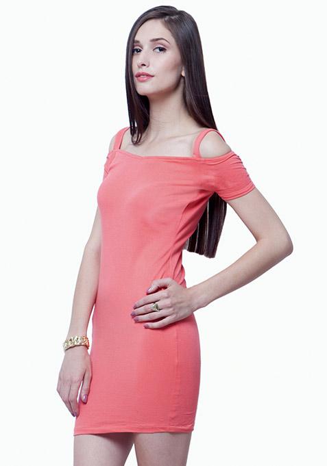 Off Shoulder Bodycon Dress - Coral