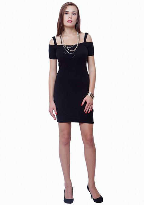Off Shoulder Bodycon Dress - Black