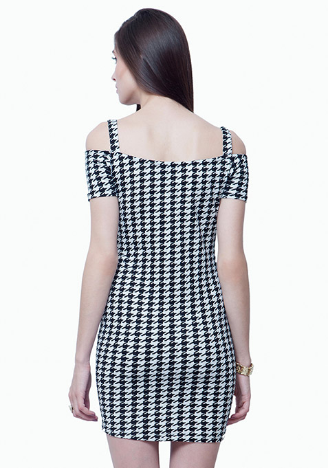 Off Shoulder Bodycon Dress - Houndstooth