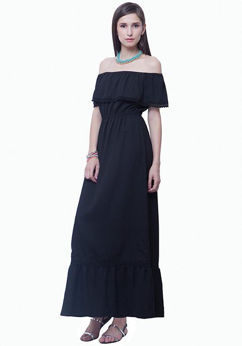 Bardot Ruffled Maxi Dress - Black