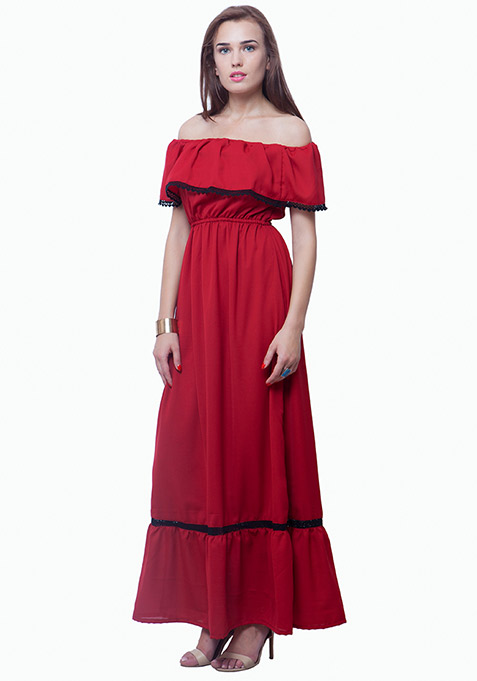 Bardot Ruffled Maxi Dress - Oxblood