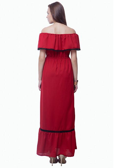 Bardot Ruffled Maxi Dress - Oxblood