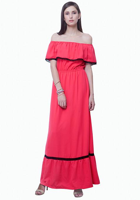 Bardot Ruffled Maxi Dress - Pink