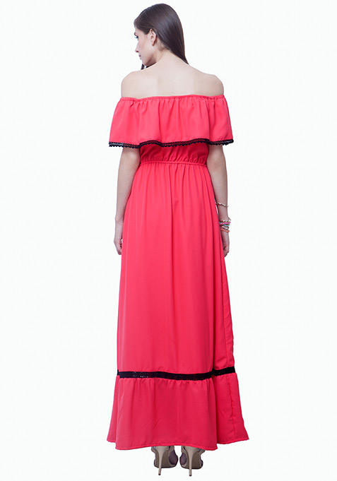 Bardot Ruffled Maxi Dress - Pink