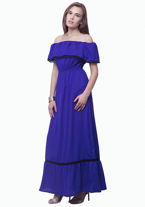 Bardot Ruffled Maxi Dress - Blue