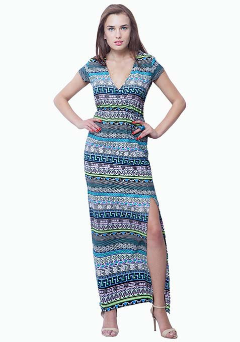 Boho Babe Maxi Dress - Aztec