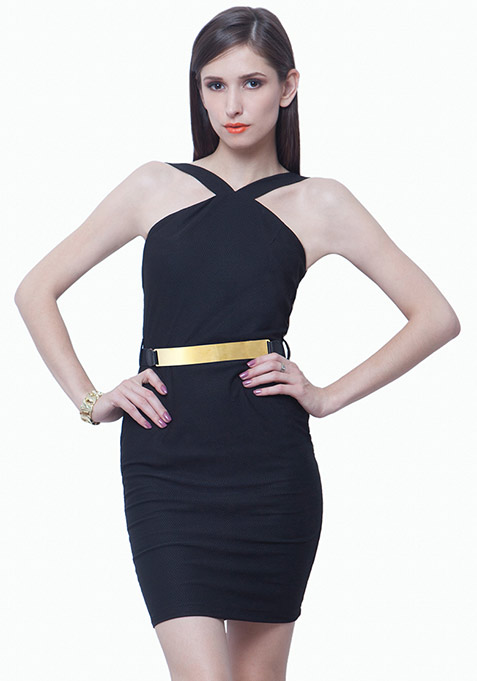 Belted Halter Bodycon Dress - Black