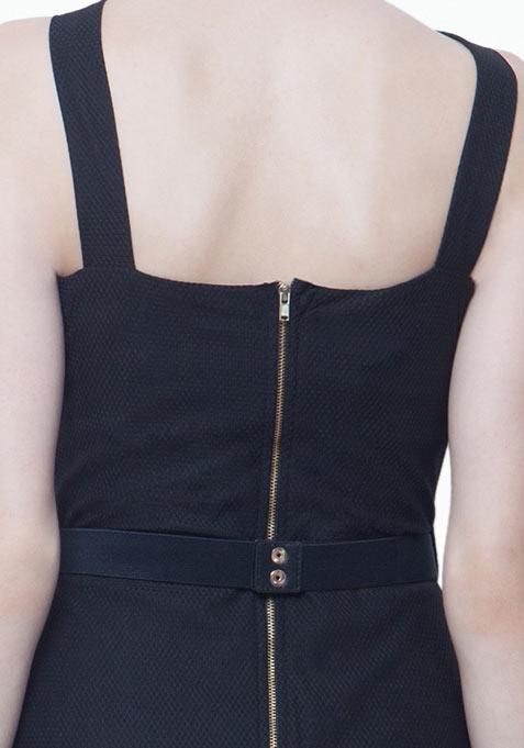 Belted Halter Bodycon Dress - Black