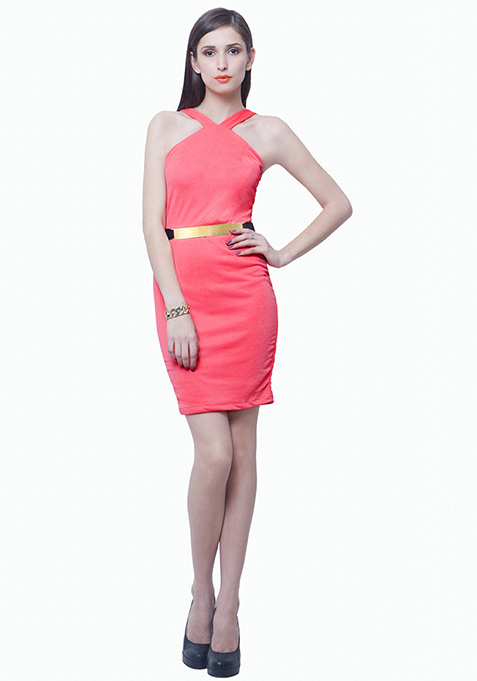 Belted Halter Bodycon Dress - Coral