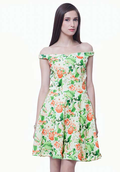 Bardot Scuba Skater Dress - Light Floral