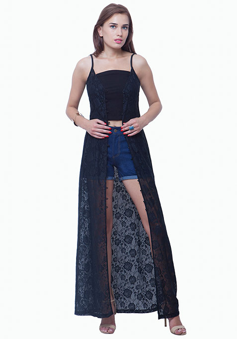 Lace Button-Down Maxi Dress - Black