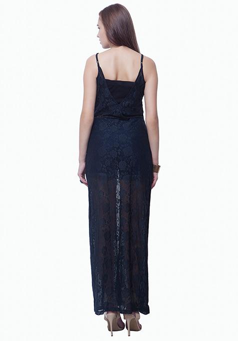 Lace Button-Down Maxi Dress - Black