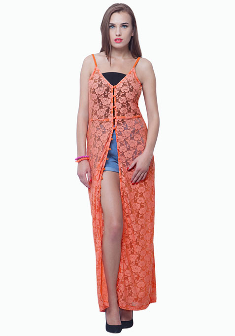 Lace Button-Down Maxi Dress - Peach