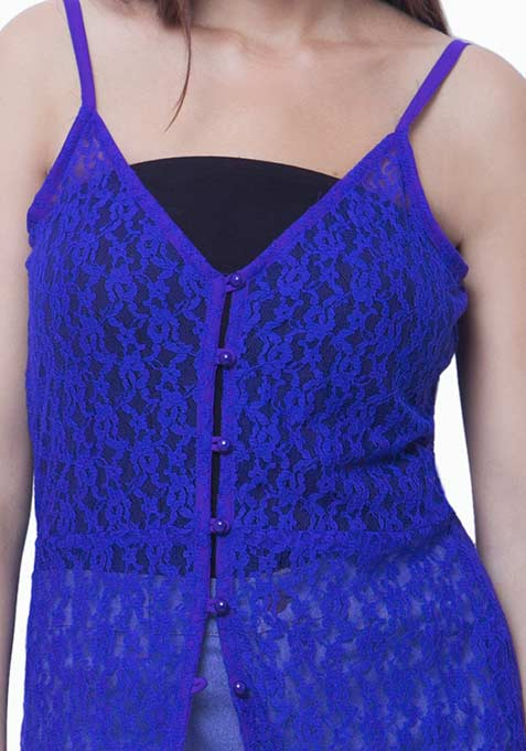 Lace Button-Down Maxi Dress - Blue