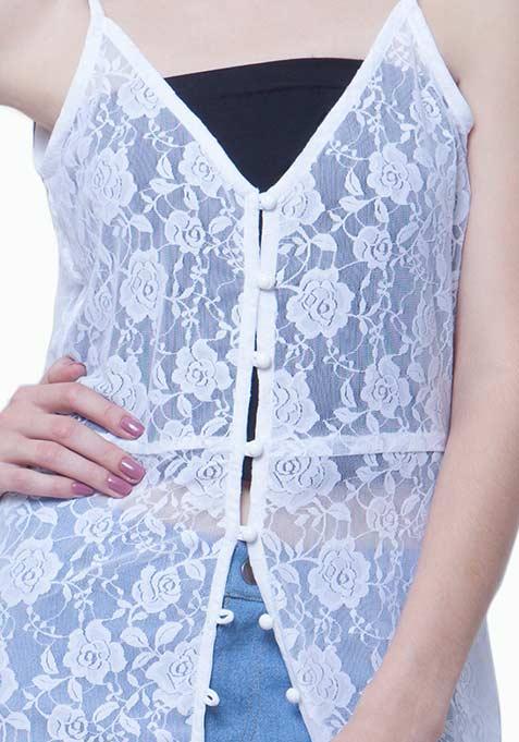 Lace Button-Down Maxi Dress - White