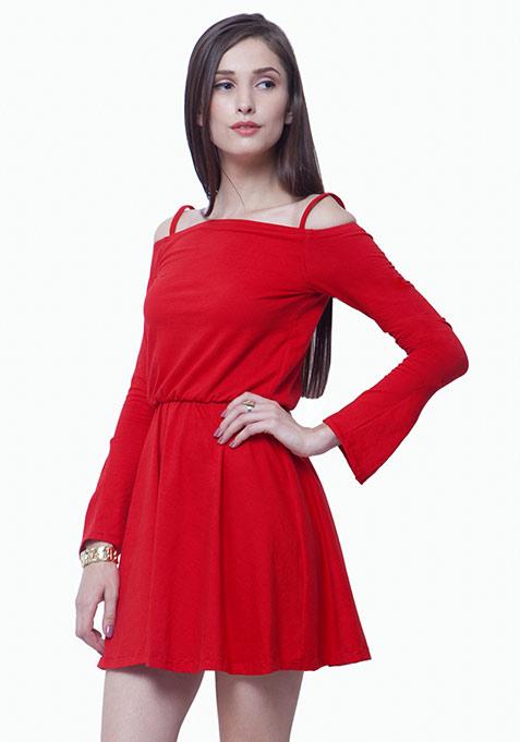 Gypsy Bardot Skater Dress - Red