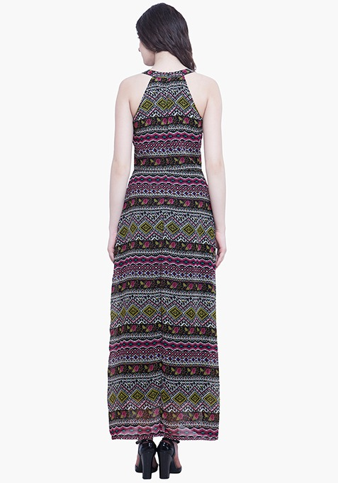 Aztec Halter Maxi Dress