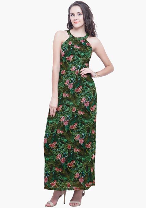 Tropical Halter Maxi Dress