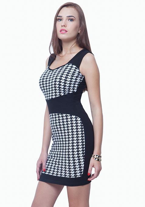 Panelled Bodycon Dress - Houndstooth