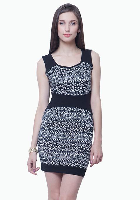 Panelled Bodycon Dress - Aztec