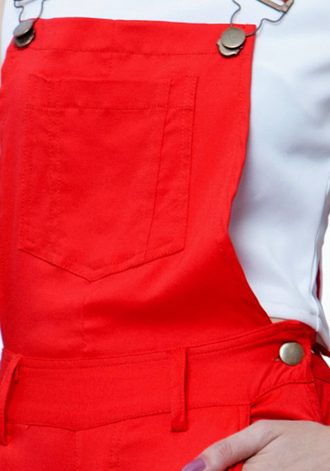 Denim Dungarees - Red