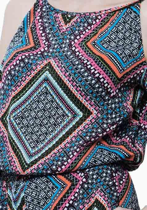 Cold Shoulder Playsuit - Aztec