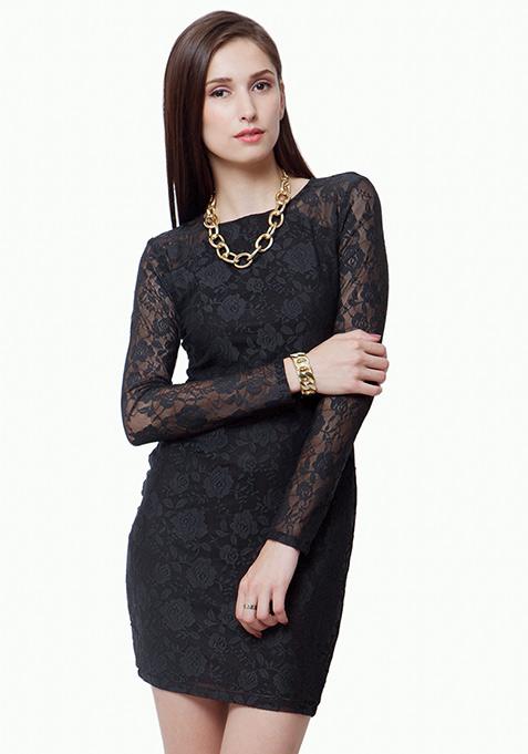 Lace Love Bodycon Dress - Black